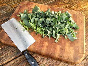 chop broccoli leaf