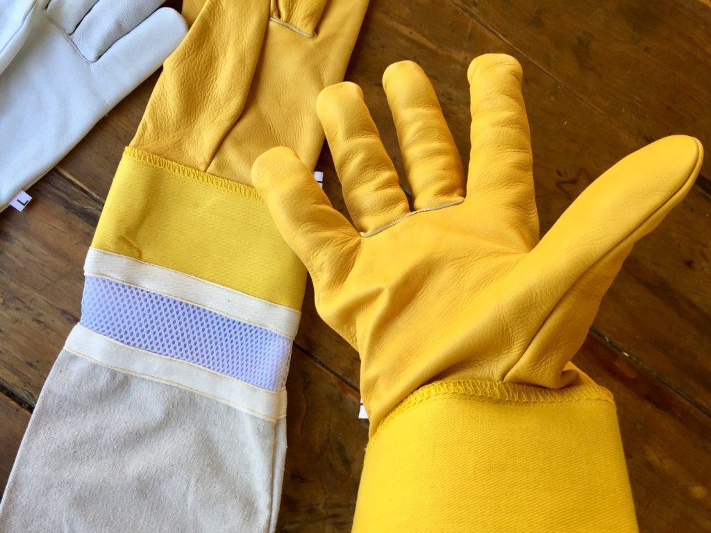 beekeeping gloves, yellow canvas