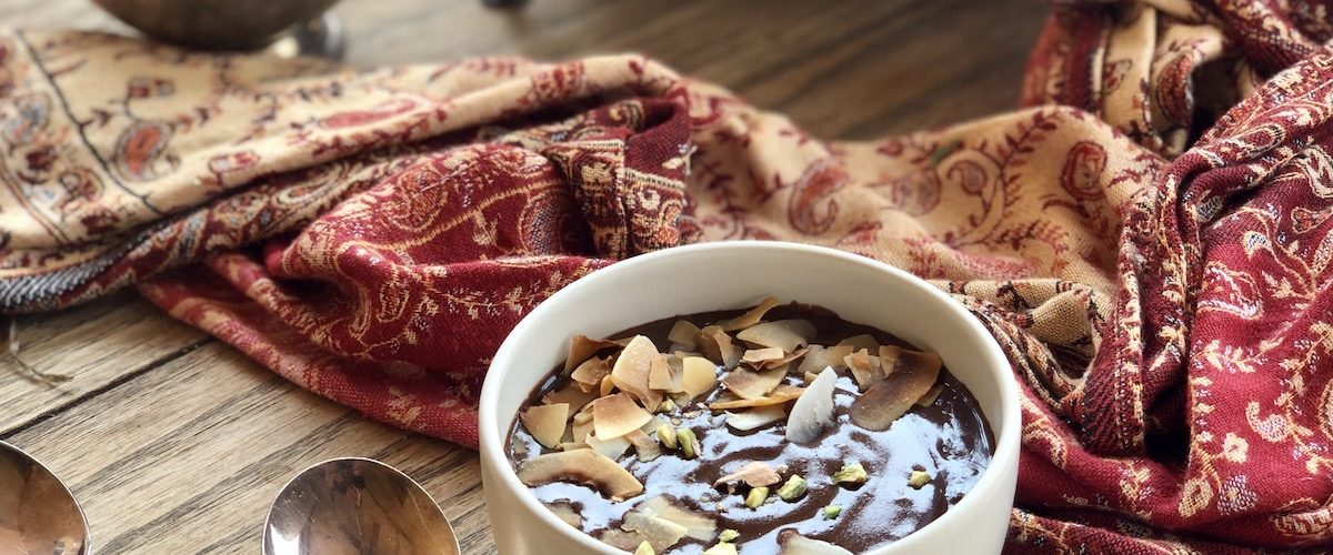 chocolate pudding with raw honey